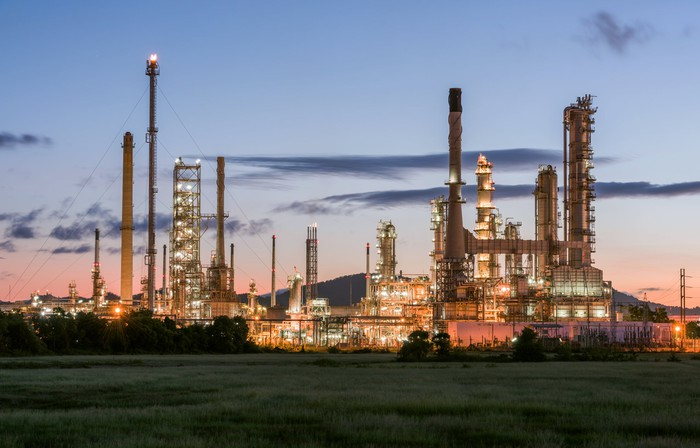 Oil refinery with evening lights.