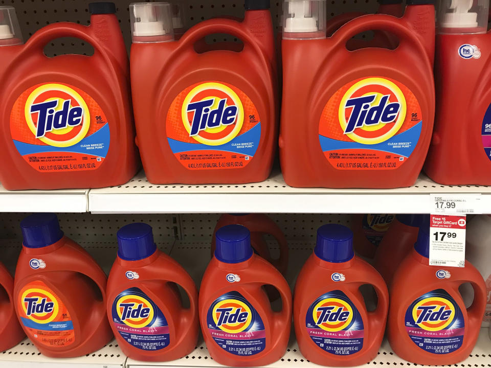 Procter & Gamble Tide laundry detergent fills the shelves of a department store on Thursday, June 14, 2018 in Aventura, Fla. (AP Photo / Brynn Anderson)