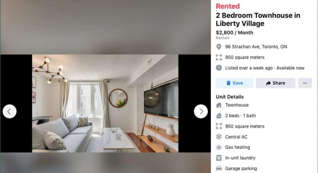 A Website Listing for a Two Bedroom Townhouse in Liberty Village for $ 2,800